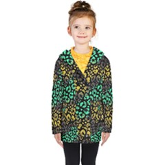 Abstract Geometric Seamless Pattern With Animal Print Kids  Double Breasted Button Coat