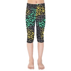 Abstract Geometric Seamless Pattern With Animal Print Kids  Capri Leggings  by Vaneshart