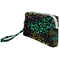 Abstract Geometric Seamless Pattern With Animal Print Wristlet Pouch Bag (small)