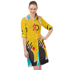 Abstract Colorful Pattern Shape Design Background Long Sleeve Mini Shirt Dress by Vaneshart