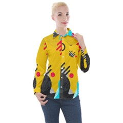Abstract Colorful Pattern Shape Design Background Women s Long Sleeve Pocket Shirt