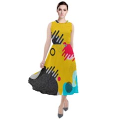 Abstract Colorful Pattern Shape Design Background Round Neck Boho Dress