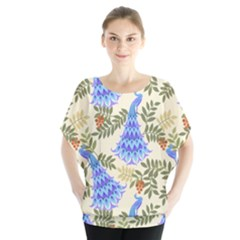 Peacock Vector Design Seamless Pattern Fabri Textile Batwing Chiffon Blouse