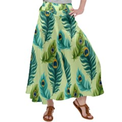 Peacock Feather Pattern Satin Palazzo Pants by Vaneshart