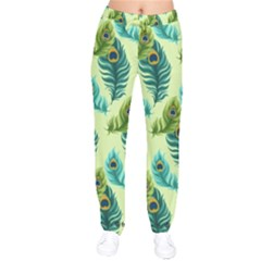 Peacock Feather Pattern Velvet Drawstring Pants by Vaneshart