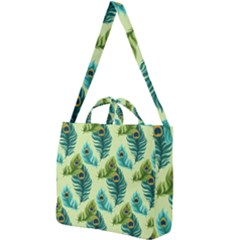 Peacock Feather Pattern Square Shoulder Tote Bag