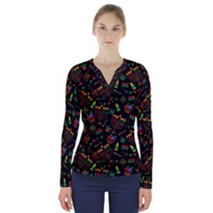 Seamless Pattern Kwanzaa With Traditional Colored Candles V Neck Long Sleeve Top