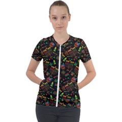 Seamless Pattern Kwanzaa With Traditional Colored Candles Short Sleeve Zip Up Jacket