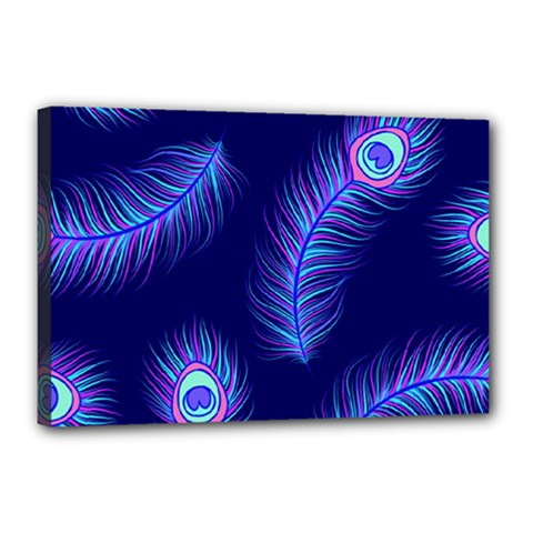 Seamless Pattern With Colorful Peacock Feathers Dark Blue Background Canvas 18  X 12  (stretched)