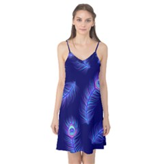 Seamless Pattern With Colorful Peacock Feathers Dark Blue Background Camis Nightgown