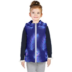 Seamless Pattern With Colorful Peacock Feathers Dark Blue Background Kids  Hooded Puffer Vest