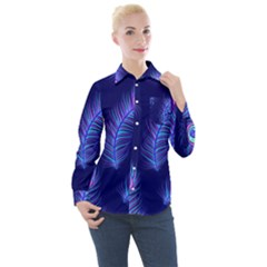 Seamless Pattern With Colorful Peacock Feathers Dark Blue Background Women s Long Sleeve Pocket Shirt