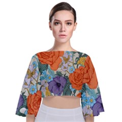 Vintage Floral Vector Seamless Pattern With Roses Tie Back Butterfly Sleeve Chiffon Top