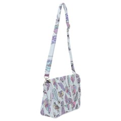 Vector Illustration Seamless Multicolored Pattern Feathers Birds Shoulder Bag With Back Zipper