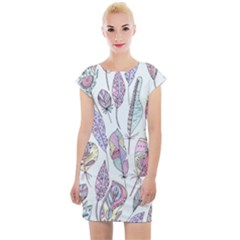 Vector Illustration Seamless Multicolored Pattern Feathers Birds Cap Sleeve Bodycon Dress