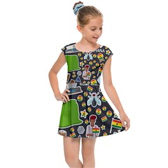 Vector Flat Seamless Texture Pattern Ghana Kids  Cap Sleeve Dress