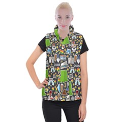 Vector Flat Seamless Texture Pattern Ghana Women s Button Up Vest