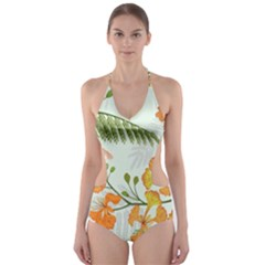 Peacock Flower Seamless Pattern Cut Out One Piece Swimsuit