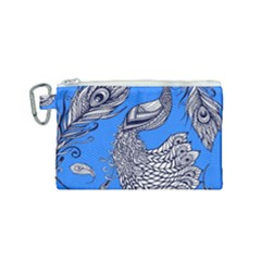 Peacock Bird Feathers Seamless Background Pattern Canvas Cosmetic Bag (small)