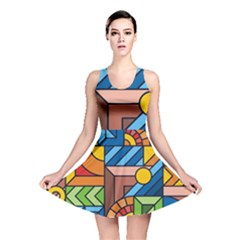 Colorful Geometric Mosaic Background Reversible Skater Dress by Vaneshart