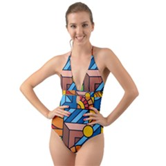 Colorful Geometric Mosaic Background Halter Cut Out One Piece Swimsuit