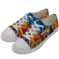 Colorful Geometric Mosaic Background Women s Low Top Canvas Sneakers by Vaneshart