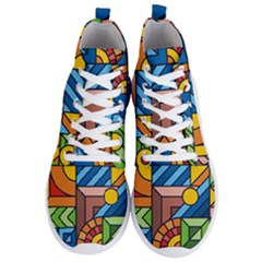 Colorful Geometric Mosaic Background Men s Lightweight High Top Sneakers