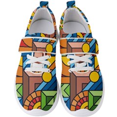 Colorful Geometric Mosaic Background Men s Velcro Strap Shoes