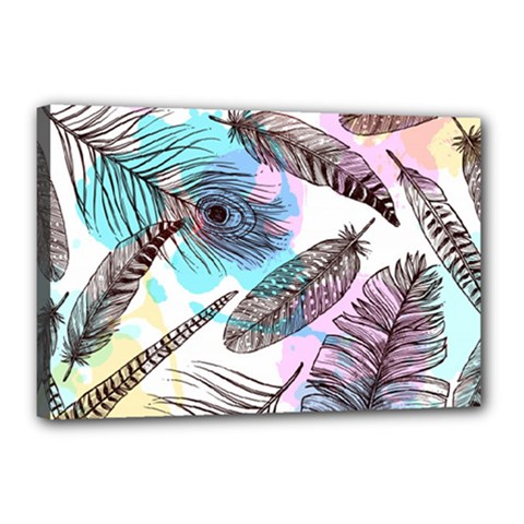 Hand Drawn Feathers Seamless Pattern Canvas 18  X 12  (stretched)