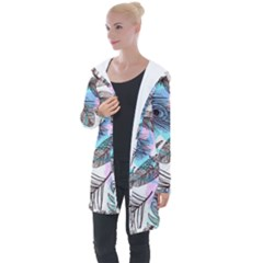 Hand Drawn Feathers Seamless Pattern Longline Hooded Cardigan