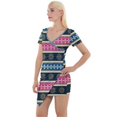 African Seamless Pattern Abstract Background Hand Drawn Short Sleeve Asymmetric Mini Dress