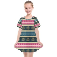 African Seamless Pattern Abstract Background Hand Drawn Kids  Smock Dress
