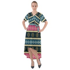 African Seamless Pattern Abstract Background Hand Drawn Front Wrap High Low Dress