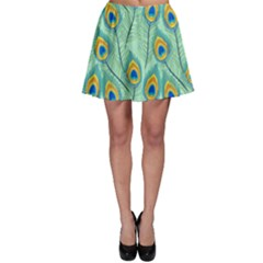 Lovely Peacock Feather Pattern With Flat Design Skater Skirt