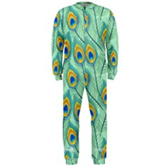 Lovely Peacock Feather Pattern With Flat Design Onepiece Jumpsuit (men)