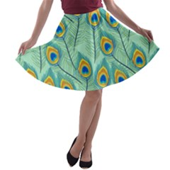 Lovely Peacock Feather Pattern With Flat Design A Line Skater Skirt