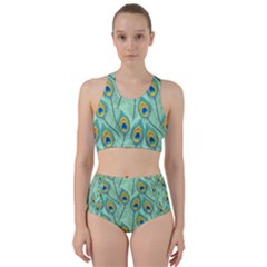 Lovely Peacock Feather Pattern With Flat Design Racer Back Bikini Set