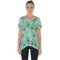 Lovely Peacock Feather Pattern With Flat Design Cut Out Side Drop Tee