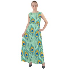 Lovely Peacock Feather Pattern With Flat Design Chiffon Mesh Boho Maxi Dress
