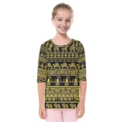 Tribal Gold Seamless Pattern With Mexican Texture Kids  Quarter Sleeve Raglan Tee by Vaneshart