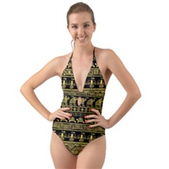 Tribal Gold Seamless Pattern With Mexican Texture Halter Cut-out One Piece Swimsuit