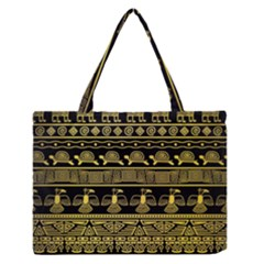 Tribal Gold Seamless Pattern With Mexican Texture Zipper Medium Tote Bag by Vaneshart