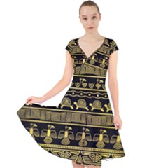 Tribal Gold Seamless Pattern With Mexican Texture Cap Sleeve Front Wrap Midi Dress
