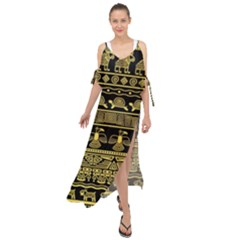 Tribal Gold Seamless Pattern With Mexican Texture Maxi Chiffon Cover Up Dress