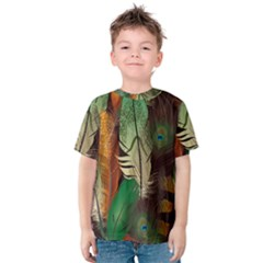 Feathers Realistic Pattern Kids  Cotton Tee
