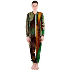 Feathers Realistic Pattern Onepiece Jumpsuit (ladies)  by Vaneshart