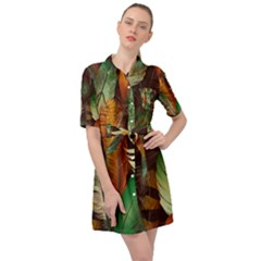 Feathers Realistic Pattern Belted Shirt Dress