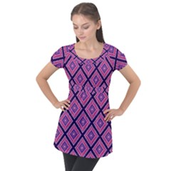 Ethnic Seamless Pattern Tribal Line Print African Mexican Indian Style Puff Sleeve Tunic Top by Vaneshart