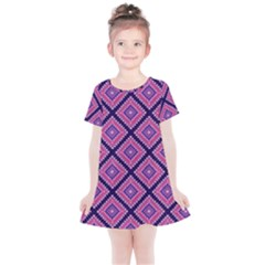 Ethnic Seamless Pattern Tribal Line Print African Mexican Indian Style Kids  Simple Cotton Dress