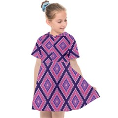 Ethnic Seamless Pattern Tribal Line Print African Mexican Indian Style Kids  Sailor Dress